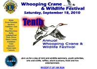 Get details about the 2010 Whooping Crane and Wildlife Festival in Necedah, Wisconsin.