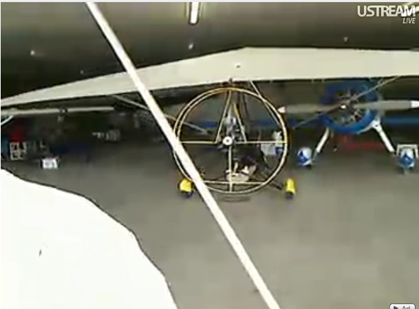 Ultralight airplane in the hangar on a no-fly day.
