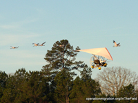 Richard's takeoff with 7 of the 8 cranes on 12/18/13.