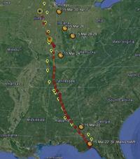 northward migration progress map as of April 7 a.m.
