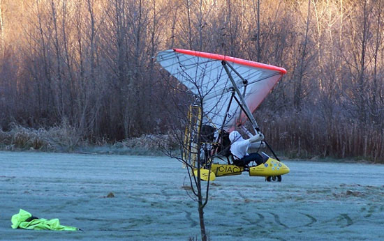 Ultralight airplane on a frosty morning