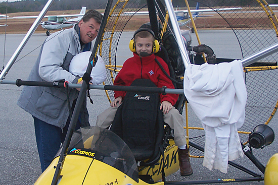 Taylor Richter in Operation Migration's ultralight airplane.