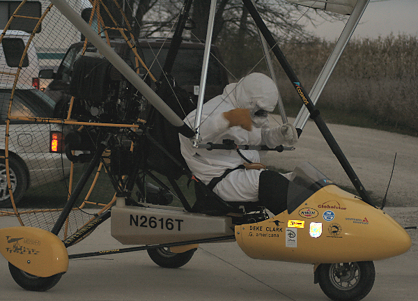 Pilot is ready to take off in the trike for a test flight.