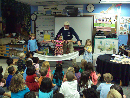 Kindergartners at Barrett Elementary hear guest speaker from Patuxent WRC as they study Whooping cranes.
