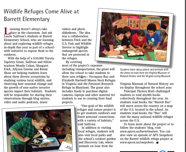 November 2011 article from local newspaper on Barrett Elementary's Wildlife REfuge project.