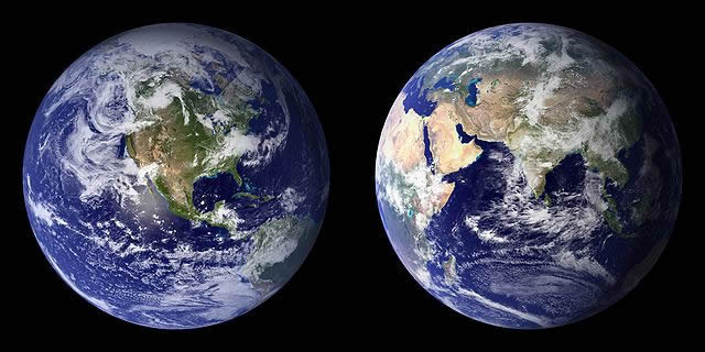 West and East HemispheresEarth from Space