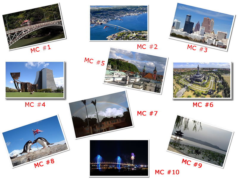 Postcards showing locations
