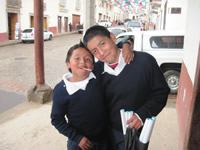 Students in Angangueo, Mexico