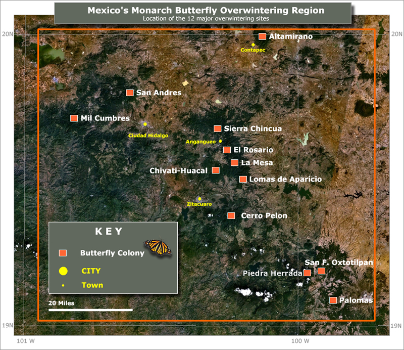 Map of monarch butterfly sanctuaries in Mexico.
