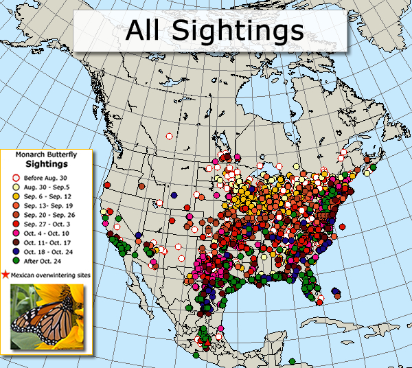 Map of All Monarch Sightings