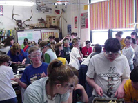 Montana students for Northern Observation Post at work in their classroom
