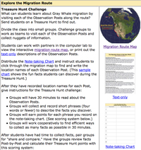Treasure Hunt Instructions for exploring the whale migration route