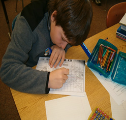 Student calculating