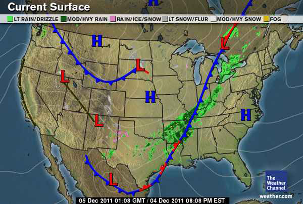 US Weather Map for December 4, 2011.