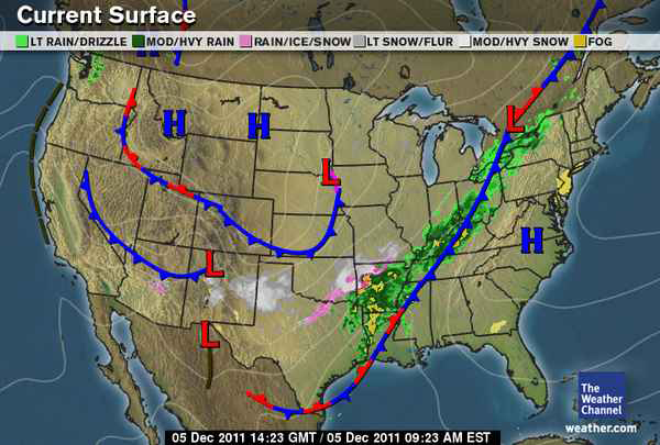 US Weather Map for December 5, 2011.