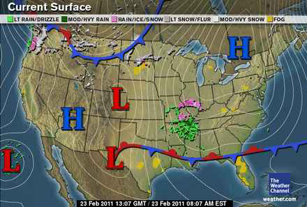 Weather And Songbird Migration Spring 2011 - Us-front-map