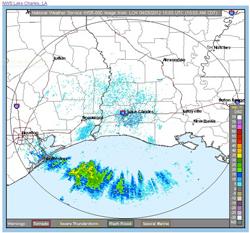Radar map shows flocks of migrating birds about to make landfall.