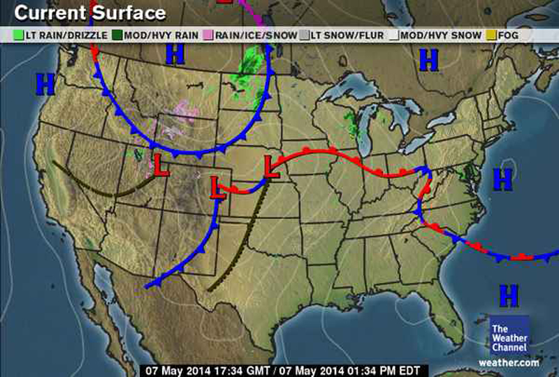 Weather map for Feb. 25, 2014