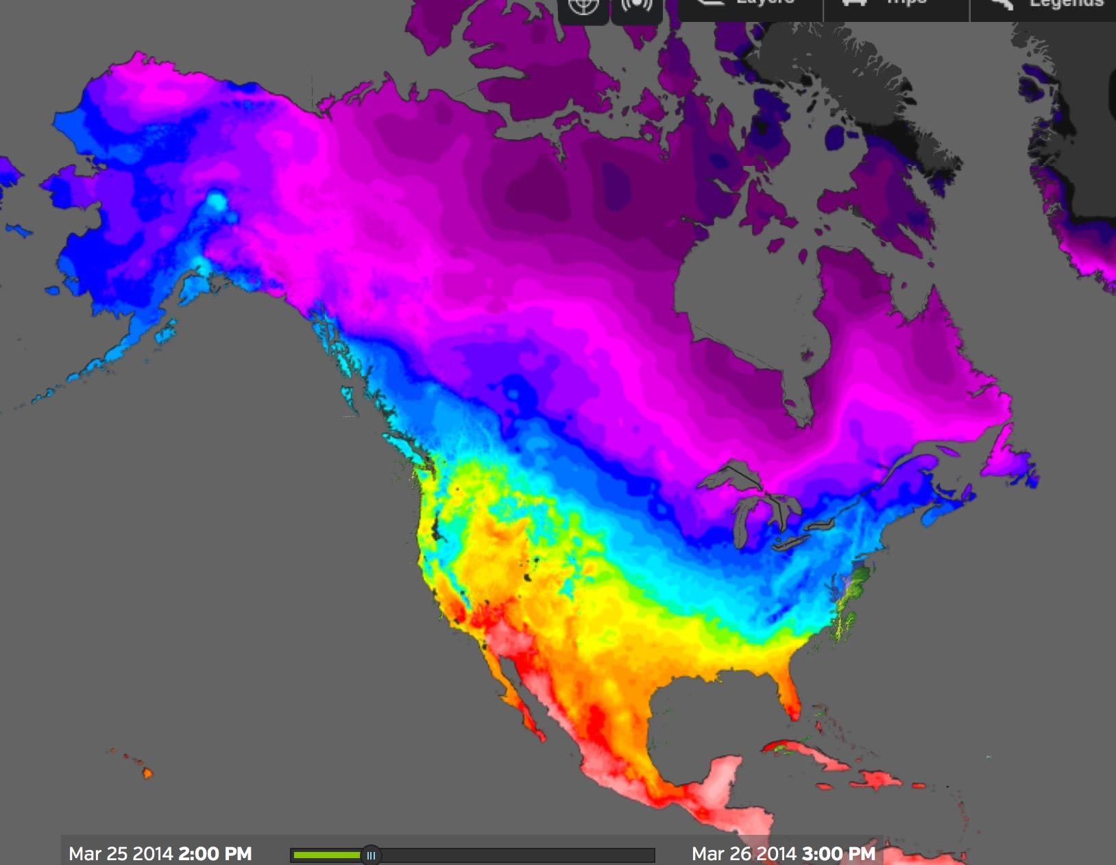 Temperatures in March