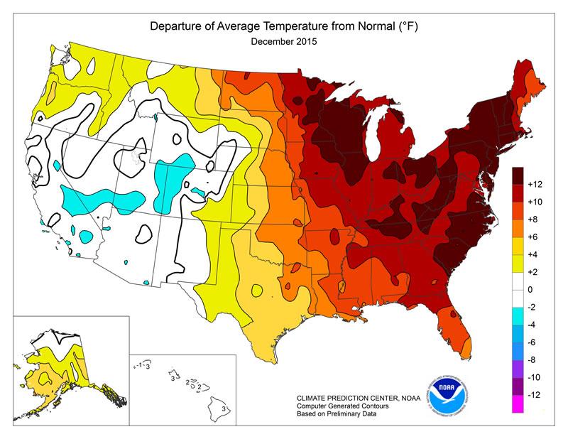 Record Warm Temperatures December 2015