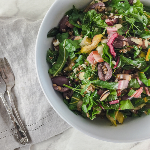 Spring Garlic, Rainbow Chard & Wheat Berry Salad