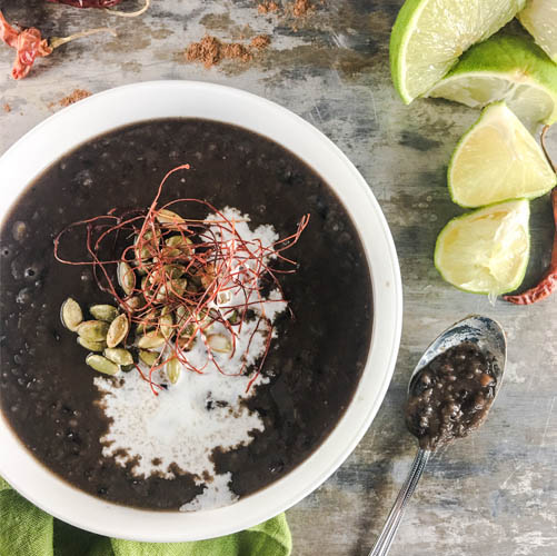 Vegan Spiced Black Bean Soup