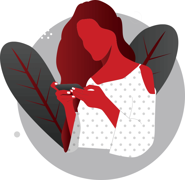 illustration of woman looking at smrt phone