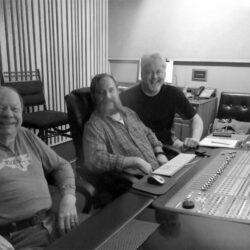 Bobby Hicks, Scott Barnett, and Mark Kuykendall listening to mixes at Crossroads Studio