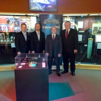 Chris Joslin, Jamie Dailey, Darrin Vincent, and Kyle Cantrell at the Dailey & Vincent exhibit at the International Bluegrass Music Museum in Owensboro, KY - photo by Ryan Hobson