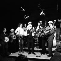 Dub Crouch, far left with banjo peghead covering his face while John Hartford and Bob Wagganer twin fiddle.