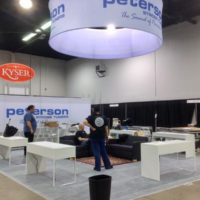 Set up starts for the Peterson Tuners booth at NAMM 2017