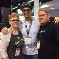 Carolyn and Daniel Routh of Nu-Blu meet actor/comedian Sinbad at the 2017 NAMM show