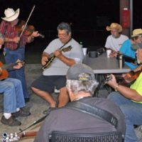 Ernie Evans (center) and Brink Brinkman (right) join an evening jam at the 2017 Florida Bluegrass Classic (2/21/17) - photo © Bill Warren