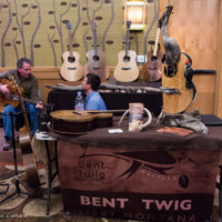 Dave Boulware of Bent Twigg guitars made some eyecatching display art as well as whole ones that play nice at Wintergrass 2017 - photo © Tara Linhardt