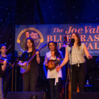 Della Mae with the Advanced Group from Kids Academy at Joe Val Bluegrass Festival (2/18/17) - photo © Tara Linhardt