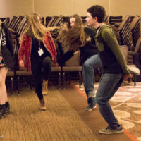 Kids not only have lessons and make bands with their instruments, but also get dancing workshops at Wintergrass 2017 - photo © Tara Linhardt