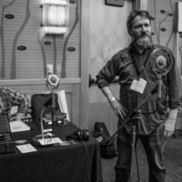 Philip Graham, creator of the Ear Trumpet microphones demonstrating and answering questions at Wintergrass 2017 - photo © Tara Linhardt