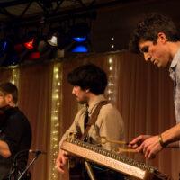 Simon Chrisman (dulcimer), Quinn Bachand (guitar), and Jeremy Kittel (fiddle) of the Jeremy Kittel band at Wintergrass 2017 - photo © Tara Linhardt