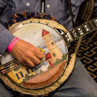 Banjo head painted by Pat Rooney at the 2017 Joe Val Bluegrass Festival - photo © Tara Linhardt