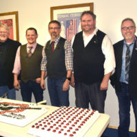 Balsam Range prepares to serve cake to their fans at the Colonial Theater in Canton, NC (3/4/17) - photo by Wayne Ebinger