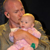Duane Sparks with his daughter, Camdyn, at the March 2017 Southern Ohio Indoor Music Festival - photo by Bill Warren