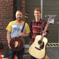 Top prize winners at RenoFest 2017: Jason Bales with his Don Reno model Davis banjo, and Daniel Thrailkill with his VA Luthiers guitar