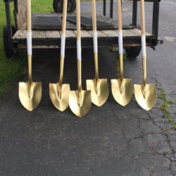 Ceremonial shovels for the groundbreaking at the Bill Monroe Museum (May 22, 2017)