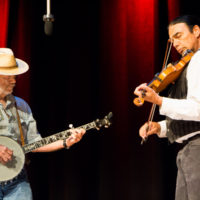 Gary Eller and Matt Renner were prize winners in the Fiddle & Banjo contest and did an exhibition set on the fiddle contest stage at Weiser 2017 - photo © Tara Linhardt
