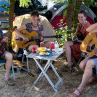 The Little Family jammin' in their camp in Stickerville at Weiser 2017 - photo © Tara Linhardt