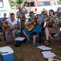 Campers held a memorial jam session for a musician who had passed away this year at Weiser 2017 - photo © Tara Linhardt