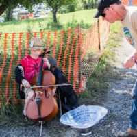 Bluegrass Kids busking at Grey Fox 2017 - photo © Tara Linhardt