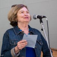 Mary Doub presenting scholarship recipients at Grey Fox 2017 - photo © Tara Linhardt
