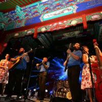 The Mountain Music Ambassadors perform in China: Sarah Wood, Andrew Preston, Raymond McLain, Austin Tackett, and Melissa Caskey