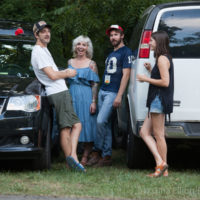 Parking lot chat at Red Wiing Roots 2017 - photo © Gina Elliott Proulx